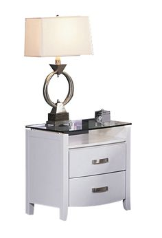 Lyric Contemporary White Wood Glass Night Stand HE-1737W-4
