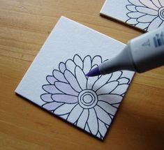 I think that it would be neat to buy ceramic tiles and then paint them to make them unique and fun coasters. -- This would be even better using porcelain paint from a hobby store. You paint it on & bake it & it becomes hard and washable. Pottery Painting, Ceramic Painting, Tile Painting, Tile Projects, Craft Projects, Sharpie Projects, Ceramic Tile Crafts, Mosaic Crafts, Sharpie Art