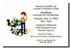 Woody, Buzz and Friends Party Invitations Disney Invitations, Party Invitations, 7th Birthday, Woody, Playroom, Sayings, Friends, Celebrities, Amigos