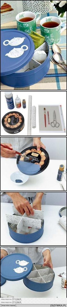 I love collecting cookie tins and using it for storage. This is a neat idea to upgrade and organize my tins.