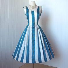 vintage 1950's dress ...peggy hunt designer PAT PREMO polished cotton striped full skirt pin-up summer sun dress