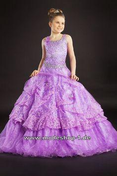 Lilanes Abendkleid Ballkleid für Mädchen Kleid Flieder Violett Blumenmädchenkleid  www.modeshop-1.de