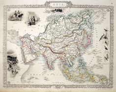 Asia.  TALLIS, John.    London, 1851.     An attractive and well detailed steel plate engraving of Asia with further engraved vignettes including views of Petra, Tartars, Russian Peasants and indigenous....