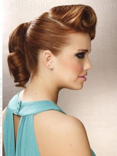 Victory Rolls Chic Smooth Updo: Add a hint of vintage to any wedding event with polished victory rolls.   How to Style instructions and product recommendations.   Face Shape and Hair Type: This style will work for all face shapes and hair types.