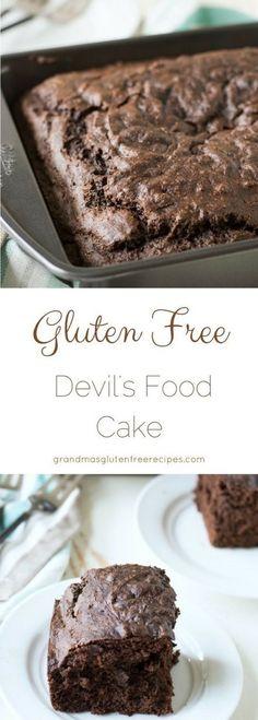 Easy gluten free devil's food cake recipe. How to make chocolaty devil's food cake. Gluten free chocolate birthday cake. via @grandmasgfree