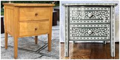 Nightstands with Faux Bone Inlay Stencils | Jewels at Home Campaign Dresser, Mid Century Dresser, Nightstands, Furniture Makeover, Stencils, Jewels, Table, Projects, Home Decor