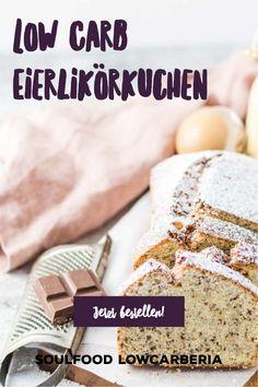 Soulfood LowCarberia Eierlikörkuchen Diesen leckeren Kuchen gibt es jetzt auch in gesund. Es ist ein Rührkuchen ohne Mehl, stattdessen mit Mandelmehl und Kokosmehl. Der luftig-lockere Teig ist mit hausgemachten zuckerfreien Eierlikör und zartschmelzenden Schokostückchen verfeinert - er schmeckt himmlisch und ist LowCarb, Keto geeignet, Ohne Zucker sondern mit Xylit gesüßt und glutenfrei. Mega lecker und ihr könnt ihn jetzt bestellen und bekommt ihn frisch gebacken nach Hause! Jetzt… Low Carb Restaurants, Low Carb Desserts, Bread, Food, Gluten Free Cooking, Sugar Free Recipes, Brot, Essen, Baking
