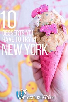 10 NYC Desserts You Have To Try Right Now. New York's dessert crazes include raw cookie dough served in a cone, epic freakshakes and chocolate pizza, so what are you waiting for? https://www.wanderlustchloe.com/new-york-desserts/
