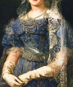 Traveling through history of Art...María Cristina de Borbón, reina de España, detail, by Vicente López Portaña, 1830.