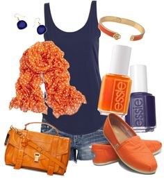I'm starting to really like orange lately. This outfit is adorable and perfect for a summer afternoon! I would wear this to go shopping, to go for a walk (and get ice cream hehe). I would wear different shoes though - I hate those canvas Toms style shoes.