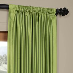Shop for Exclusive Fabrics Fern Green Solid Faux Silk Taffeta Curtain Panel. Get free delivery On EVERYTHING* Overstock - Your Online Home Decor Outlet Store! Drapery Panels, Panel Curtains, Emerald Green Curtains, Custom Drapes, Silk Taffeta, House Windows, Traditional Furniture, Birch Lane, Furniture Making
