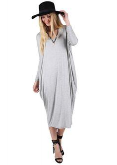 Darlene Oversized Dolman Dress in Heather grey | Necessary Clothing