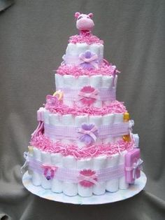 To Make This Pretty In Pink Diaper Cake, Roll Around 100   120 Diapers, ·  Pink Diaper CakesBaby Shower ...