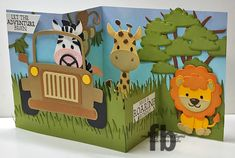Hi Crafty Friends, Today I am sharing a birthday card I created using the new jungle themed dies designed by Joset van de Burgt and. Tri Fold Cards, Flip Cards, Pop Up Cards, Folded Cards, Birthday Sentiments, Honey Bee Stamps, Elizabeth Craft Designs, Whimsy Stamps, Kids Birthday Cards