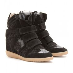 Isabel Marant Bazil Suede and Snake-effect Sneakers