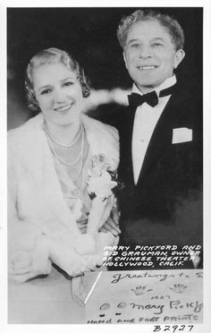 Mary Pickford and Sid Grauman, Owner of Chinese Theater, Hollywood, Calif.