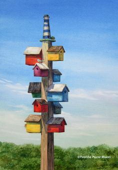 Garden Birdhouses | Dad's Birdhouses (Framed 18 x 24) By Yvonne Pecor Mucci