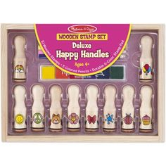 Free 2-day shipping on qualified orders over $35. Buy Melissa & Doug Deluxe Happy Handle Stamp Set With 10 Stamps, 5 Colored Pencils, and 6-Color Washable Ink Pad at Walmart.com