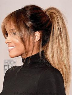 Pony Hairstyles, Hairstyles With Bangs, Long Fringe Hairstyles, Fashion Hairstyles, Bob Hairstyle, Ciara Hairstyles, Wedding Hairstyles, Middle Part Hairstyles, Simple Hairstyles