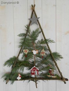 2014 Twig Christmas Tree with nches in the triangle - Christmas tree floating crafts , wall decor