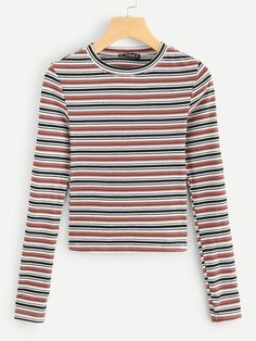 e1fdbd01 Casual Striped Slim Fit Round Neck Long Sleeve Pullovers Multicolor Regular  Length Colorful Striped Ribbed Tee