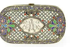 A RUSSIAN SILVER-GILT AND CLOISONNE ENAMEL PURSE