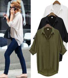 Blusas Femininas 2017 e Camisas Women Blouses Plus Size Large Size Clothes Chiffon Shirts Loose Feminine Chemisier Blusa Chiffon Shirt, Chiffon Tops, Women's Summer Fashion, Autumn Fashion, Look Cool, Blouse, Casual Shirts, Cute Outfits, Fall Outfits