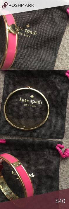 Kate spade pink enamel spade gold bangle Like new kate spade Jewelry Bracelets