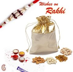 Picture of Golden Leatherite Dry fruit pouch with Rakhi