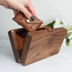 Personalised Wood Clutch Hinge Bag by Create Gift Love, the perfect gift for Explore more unique gifts in our curated marketplace. Diy Clutch, Clutch Bag, Tote Bag, Wood Crafts, Diy And Crafts, Wooden Purse, Branded Gifts, Wooden Gifts, Leather Craft