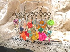 earrings assemblage flower spring chandelier by lilyofthevally