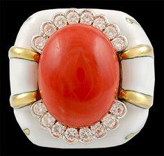 David Webb 18kt. Gold and Platinum Coral & Diamond Ring.