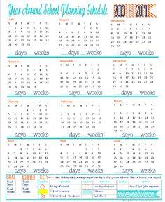 5 Days of Tina's 7 Step DIY Curriculum Planner: Day 3 Printable Year Around School Planning Schedule
