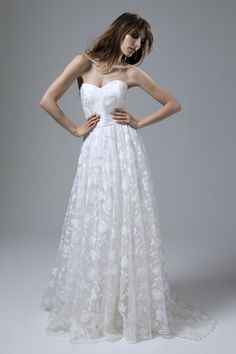 Esme Embroidered Organza Strapless Wedding Dress with Circular Skirt by Halfpenny London