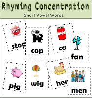 24 free pairs of rhyming cards!  Great for a matching game.