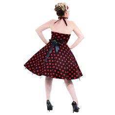 H&R Polka Dot Halterneck Dress (Black/Red)