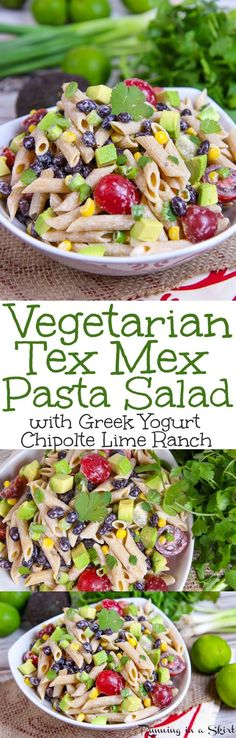 Healthy Tex Mex Pasta Salad recipe with Chipotle Lime Greek Yogurt Ranch Dressing. This easy, cold Mexican Pasta Salad is packed with black beans, veggies, tomato, corn and avocado! A simple vegetarian meal for weekday dinners, for a crowd, picnics or for families. / Running In a Skirt