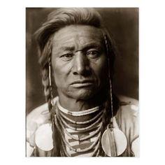 Crow Indian Chief Vintage Photo Postcard