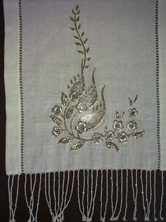 Recent embroidery in traditional Turkish style. Metal thread on linen. Technique: 'tel sarma'.