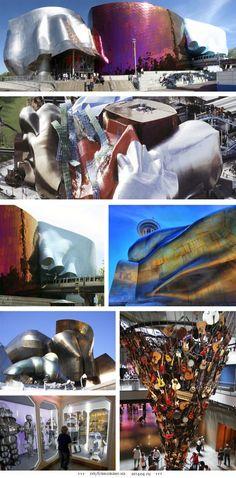 Здание Музея Научной фантастики, Музея музыки и Зала Славы, США.  Сокращенно, это здание в Сиэтле, штат Вашингтон, называется EMP/SFM (Experience Music Project / Science Fiction Museum and Hall of Fame). Архитектура вдохновлена пластичностью и энергией музыки. До музеев легко добраться — единственная в Сиэтле ветка монорельса домчит вас прямиком в здание музея.