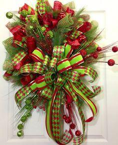 Christmas Mesh Wreath by WilliamsFloral Wreath Crafts, Diy Wreath, Christmas Projects, Christmas Crafts, Wreath Ideas, Christmas Mesh Wreaths, Noel Christmas, All Things Christmas, Etsy Christmas