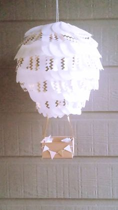 Hot Air Balloon Lantern -gold and white-Chevron Hot air balloon party-Hot air balloon Nursery Decor-Baby Mobile-10 inch Lantern by RepublicOfParty on Etsy https://www.etsy.com/listing/258521214/hot-air-balloon-lantern-gold-and-white