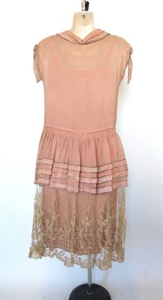 1920s Flapper Dress: Dusty rose floral lace tea wedding dress 2pc. The underneath slip layer is tank style with a beautiful ivory lace embroidered bodice. The outer layer is just lovely, it has a slight drop waist style that is embellished with three stationary flocked velvet flowers. Bottom of the skirt is completely sheer netted lace embroidery that matches the bodice of the slip.  Back