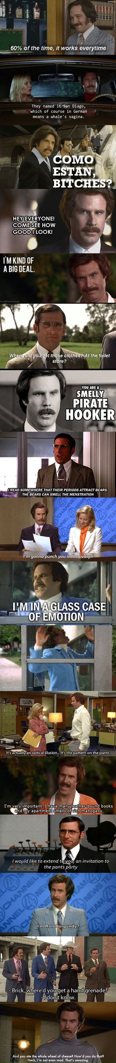 Funny pictures about Best of Anchorman. Oh, and cool pics about Best of Anchorman. Also, Best of Anchorman. Tv Quotes, Movie Quotes, Funny Quotes, Anchorman Quotes, Nerd, Haha Funny, Funny Stuff, Awesome Stuff, Funny Things