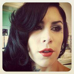 Chrome grey eyeshadow, Crimson foil lipstick