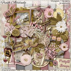 #DOTD Fresh Attitude by #PattyBScraps.  Beautiful, delicate, sprinkled with a touch of vintage, definitely perfect for any baby girl.  #theStudio #digitalscrapbooking