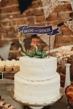 Simple wedding cake with banner. Paige!!! this is the cake I want at my shower, remember!!
