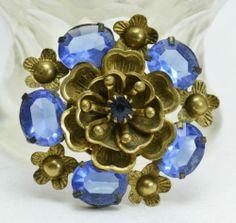 Max Neiger HEART PETAL FLOWER with Sky Blue Czech Glass Stones Wreath BROOCH