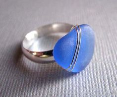 Cornflower Blue  Heart Sea Glass Ring  Beach Glass by seaglassin, $49.00