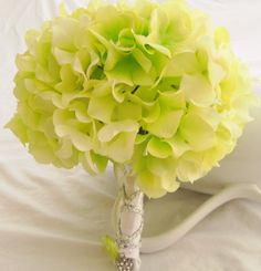 Wedding Bouquet Green White Hydrangea Wedding Bouquet- Green and White Hydrangea and Zinnias Bridal Bouquet. $79.00, via Etsy.